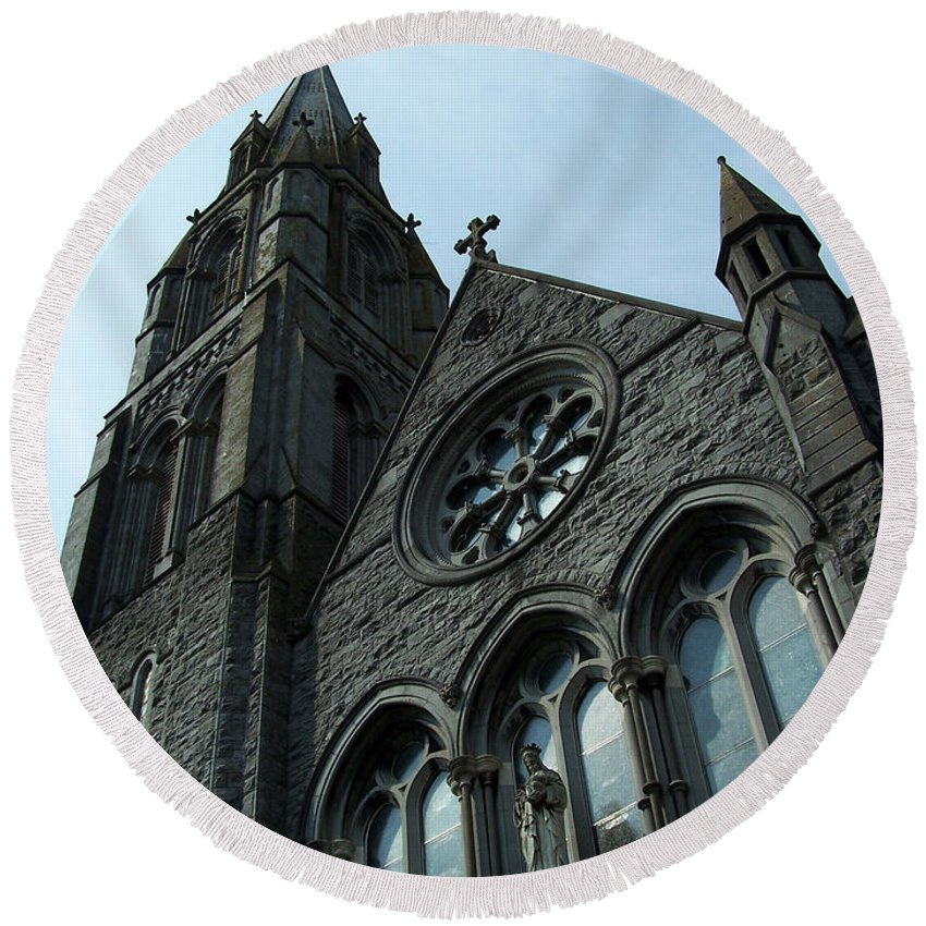 Ireland Round Beach Towel featuring the photograph St. Mary's Of The Rosary Catholic Church by Teresa Mucha