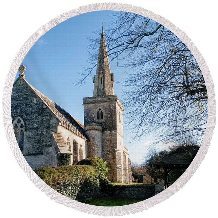 Little-bredy Round Beach Towel featuring the photograph St Michael And All Angels Church -- Little Bredy by Susie Peek