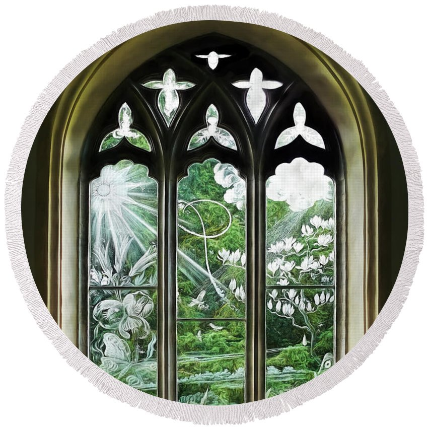 Glass Round Beach Towel featuring the photograph St Nicholas And St Magnus Church Window - Impressions by Susie Peek