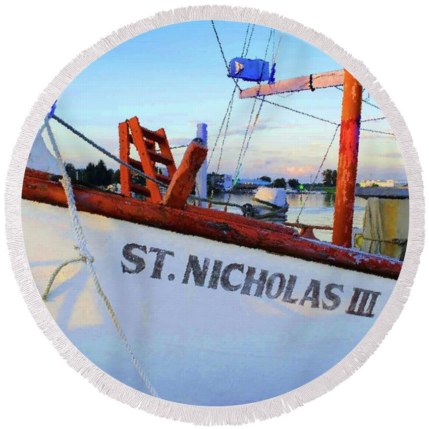 Ship Round Beach Towel featuring the photograph St. Nicholas IIi by Jost Houk