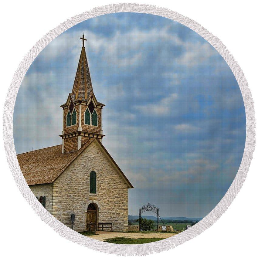 Texas Round Beach Towel featuring the photograph St Olafs Church by Stephen Stookey