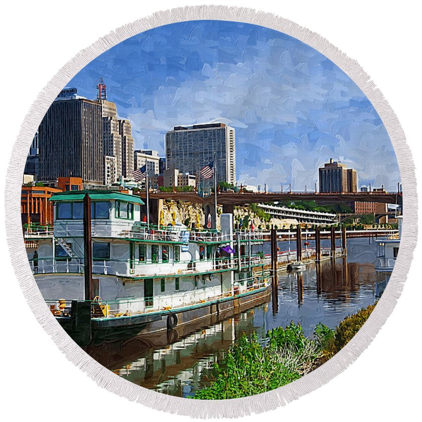 Tugboat Round Beach Towel featuring the photograph St Paul Tugboat by Tom Reynen