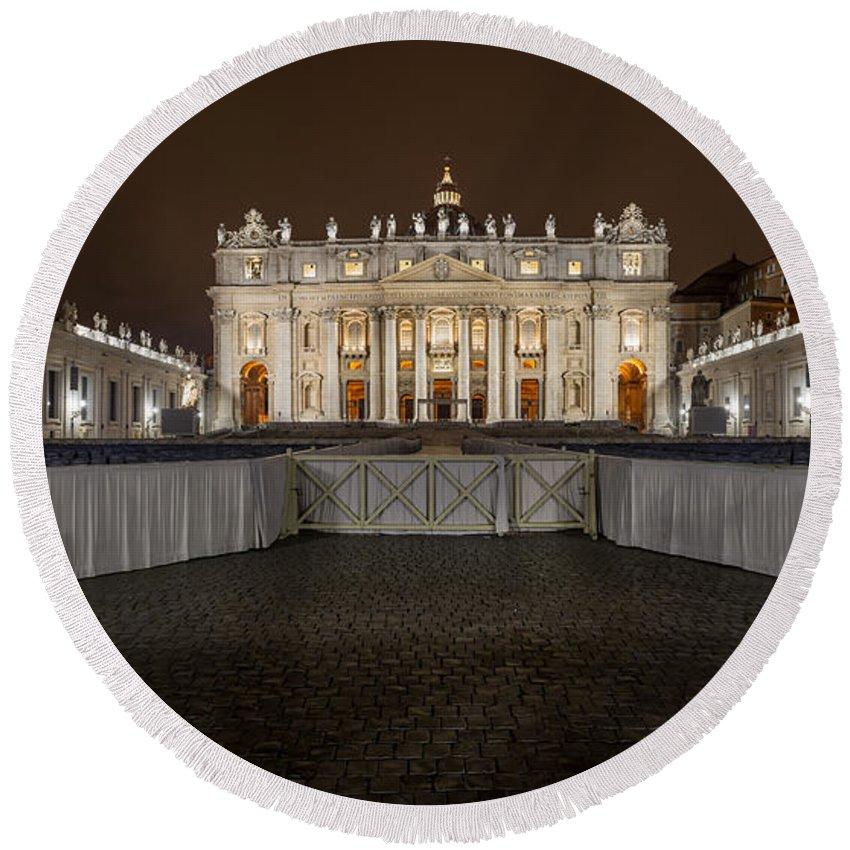 Basilica Round Beach Towel featuring the photograph St. Peter Basilica by Valerio Poccobelli
