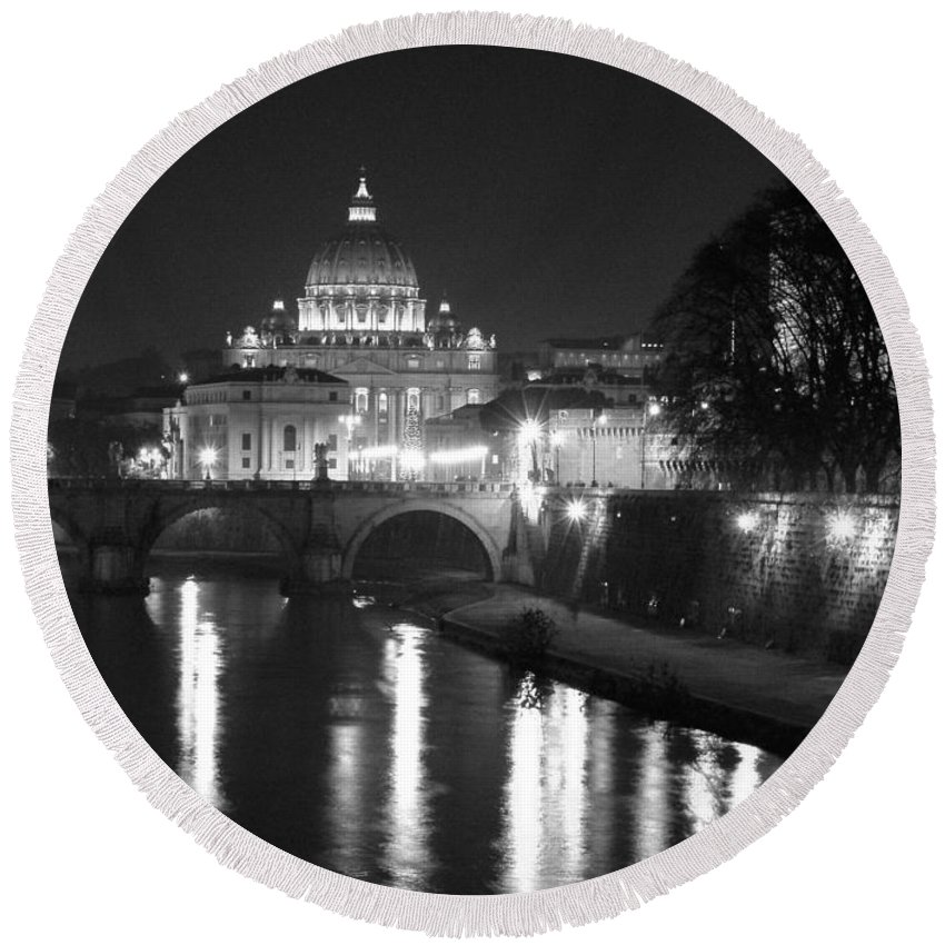Italy Round Beach Towel featuring the photograph St. Peters At Night by Donna Corless