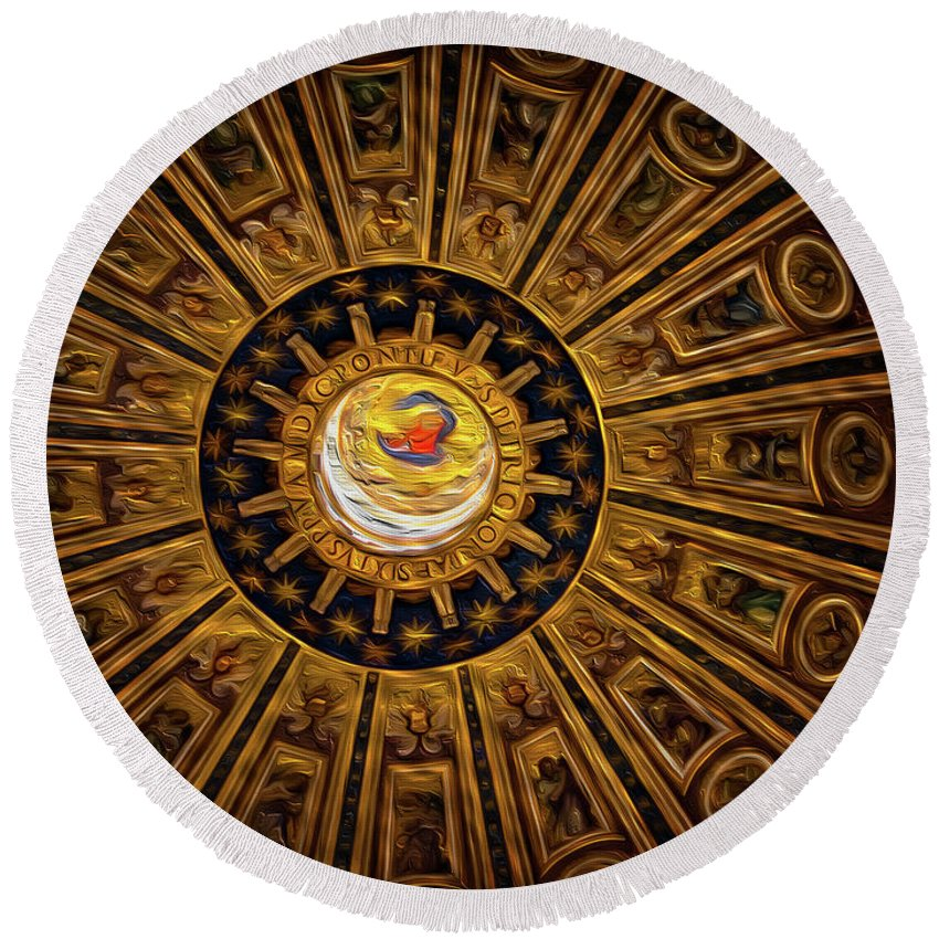 St. Peter's Round Beach Towel featuring the photograph St. Peter's Duomo 2 by Doug Sturgess