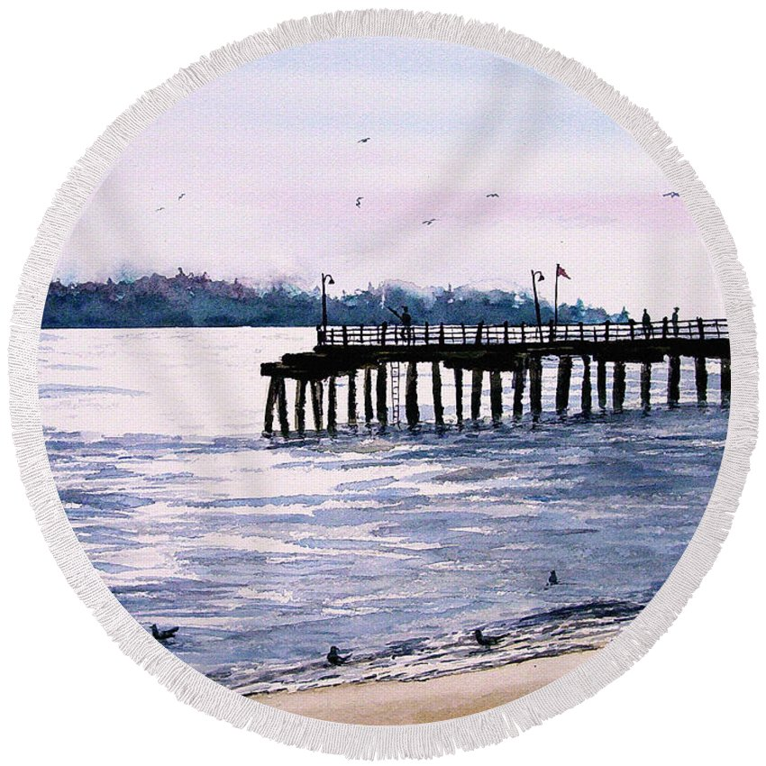 Fishing Round Beach Towel featuring the painting St. Simons Island Fishing Pier by Sam Sidders