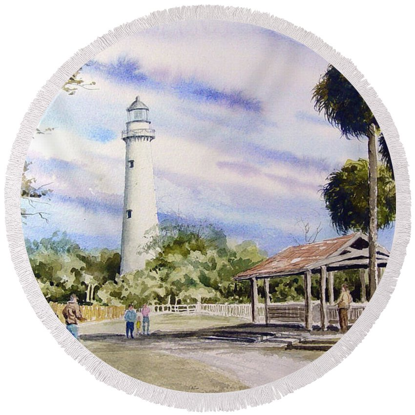 Lighthouse Round Beach Towel featuring the painting St. Simons Island Lighthouse by Sam Sidders