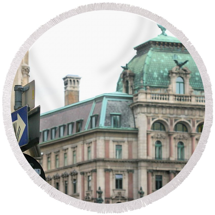 Arch Round Beach Towel featuring the photograph St Stephens Square One Way Vienna by Angela Rath