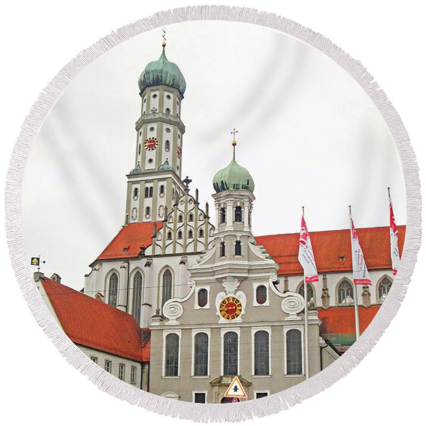 St. Ulrich's Round Beach Towel featuring the photograph St. Ulrich's And St. Afra's Abbey by Robert Meyers-Lussier