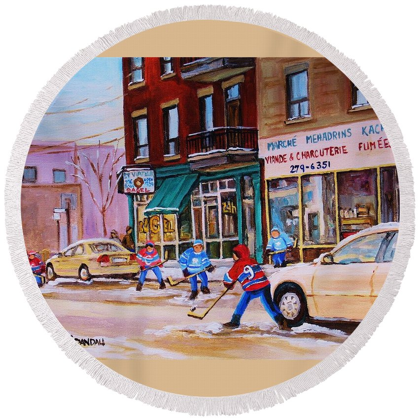 Montreal Round Beach Towel featuring the painting St. Viateur Bagel With Boys Playing Hockey by Carole Spandau