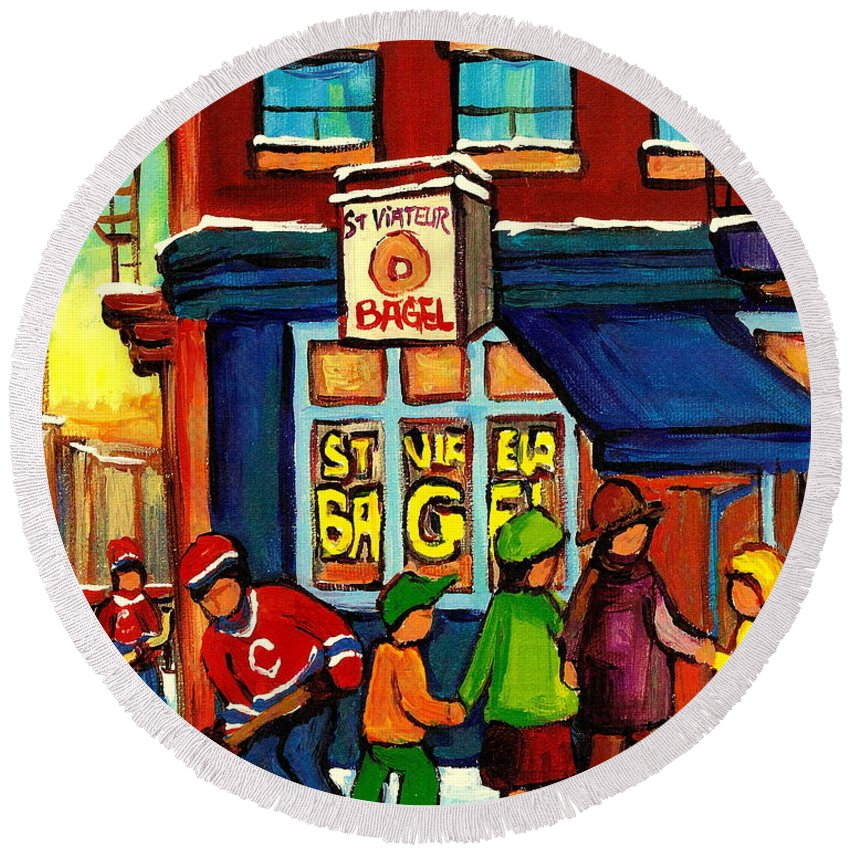 Monteeal Round Beach Towel featuring the painting St. Viateur Bagel With Hockey by Carole Spandau