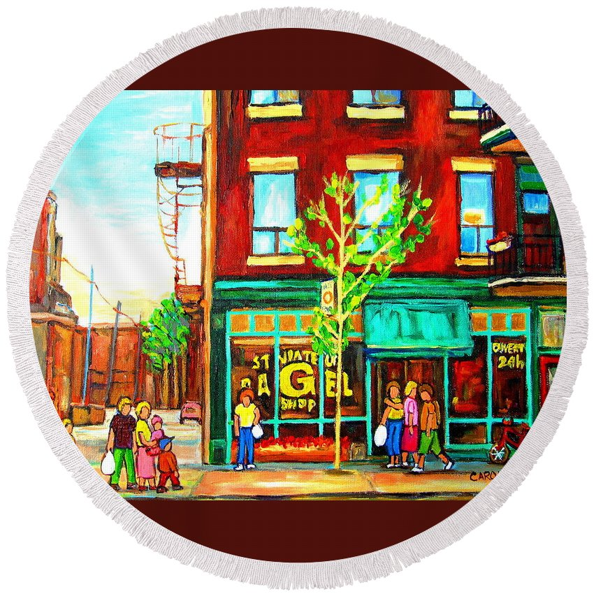 Cityscapes Round Beach Towel featuring the painting St. Viateur Bagel With Shoppers by Carole Spandau