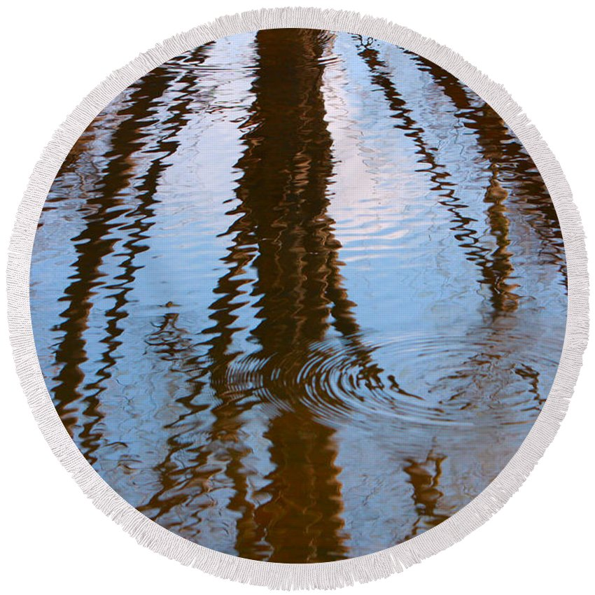 Abstract Round Beach Towel featuring the photograph St. Vrains Creek Reflection by James BO Insogna