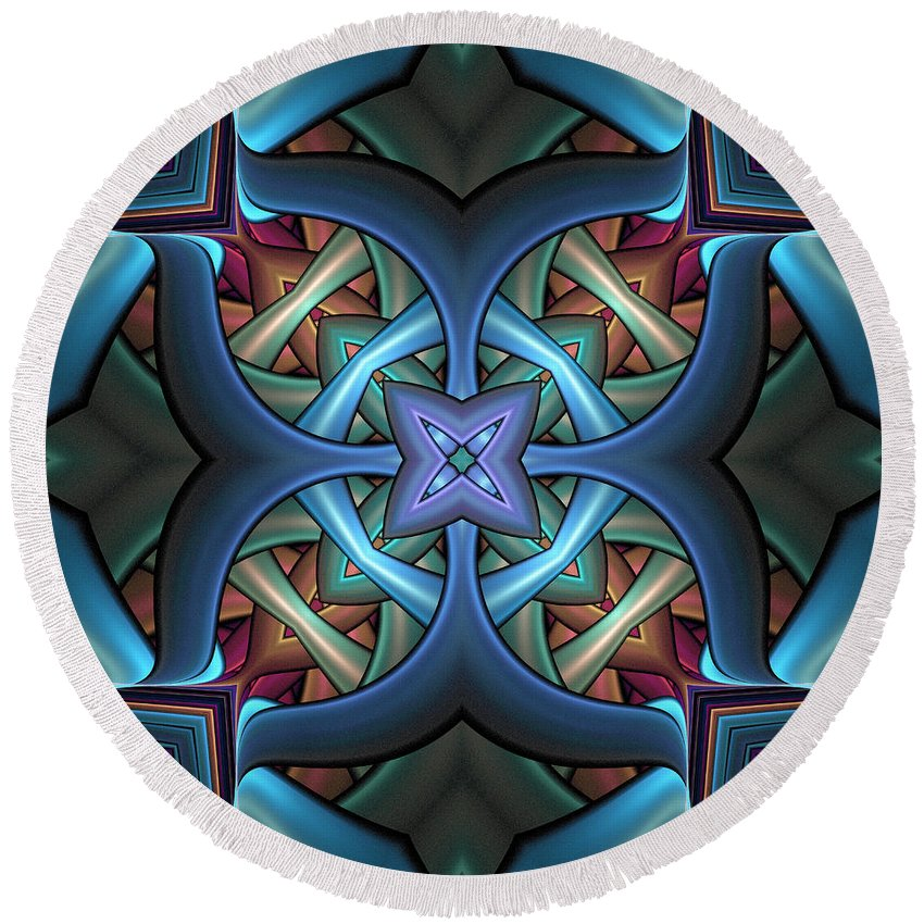 Digital Art Round Beach Towel featuring the digital art Stacked Kaleidoscope by Amanda Moore
