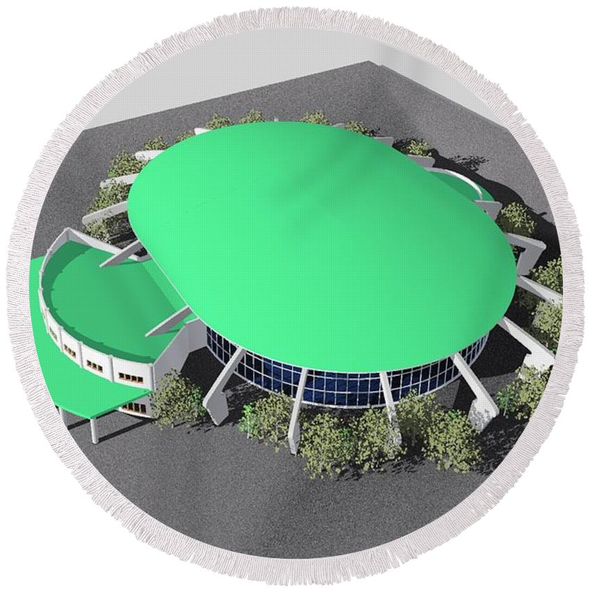 Building Rendering Round Beach Towel featuring the digital art Stadium Model by Ron Bissett