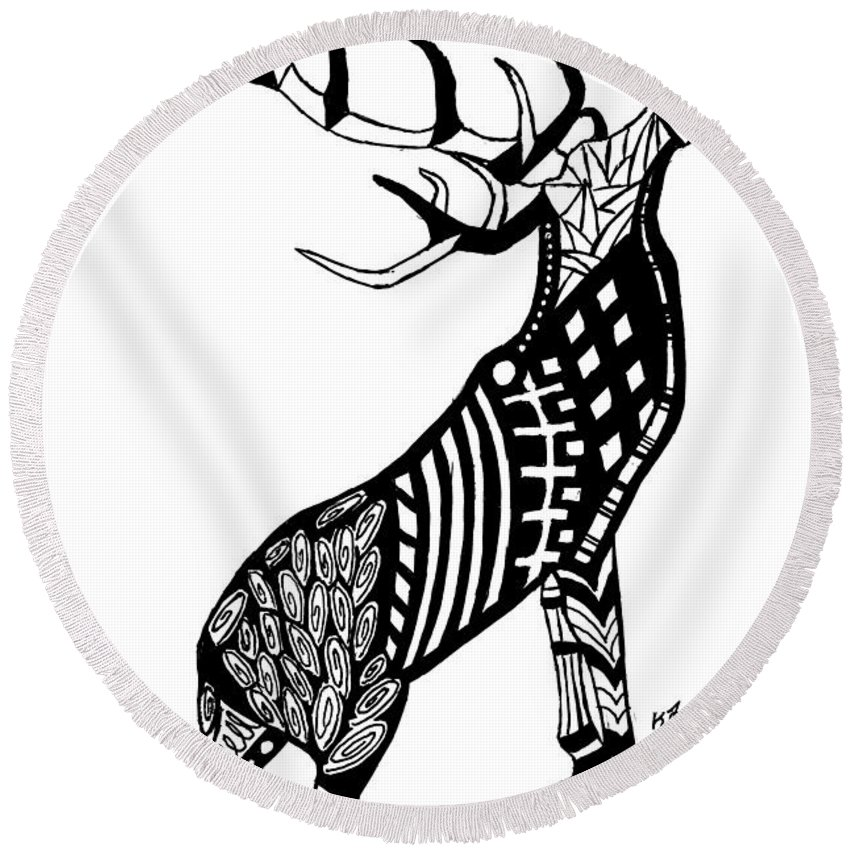Ink Round Beach Towel featuring the drawing Stag by Kayleigh Semeniuk