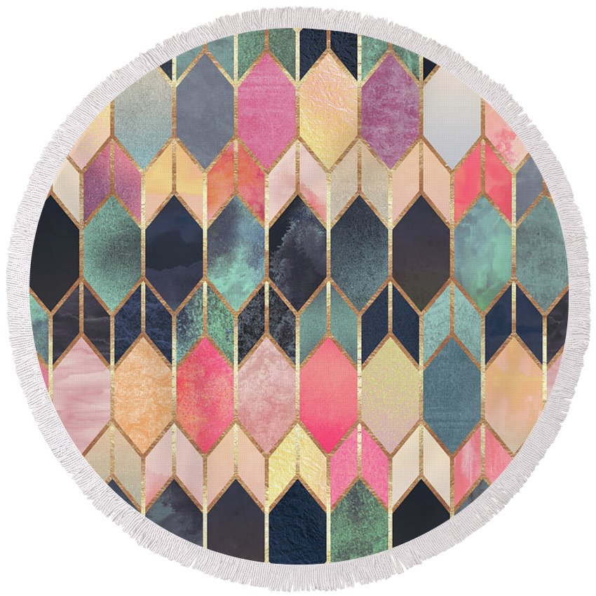 Graphic Round Beach Towel featuring the digital art Stained Glass 3 by Elisabeth Fredriksson