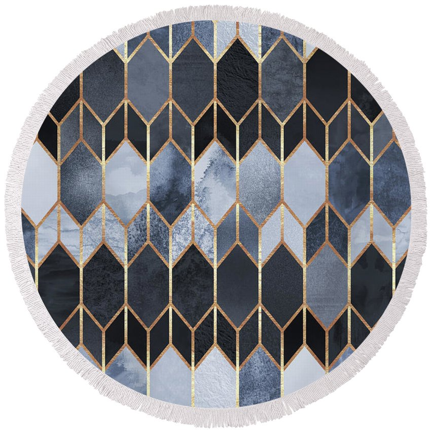 Graphic Round Beach Towel featuring the digital art Stained Glass 4 by Elisabeth Fredriksson