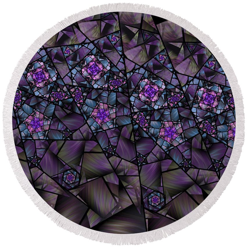 Fractal Round Beach Towel featuring the digital art Stained Glass Floral II by Amorina Ashton