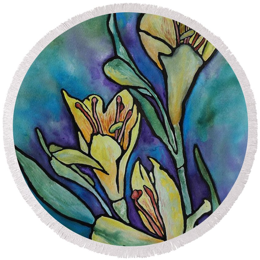 Flowers Round Beach Towel featuring the painting Stained Glass Flowers by Ruth Kamenev