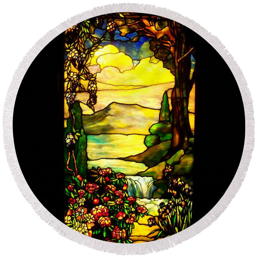 Stained Glass Round Beach Towel featuring the photograph Stained Landscape by Donna Blackhall