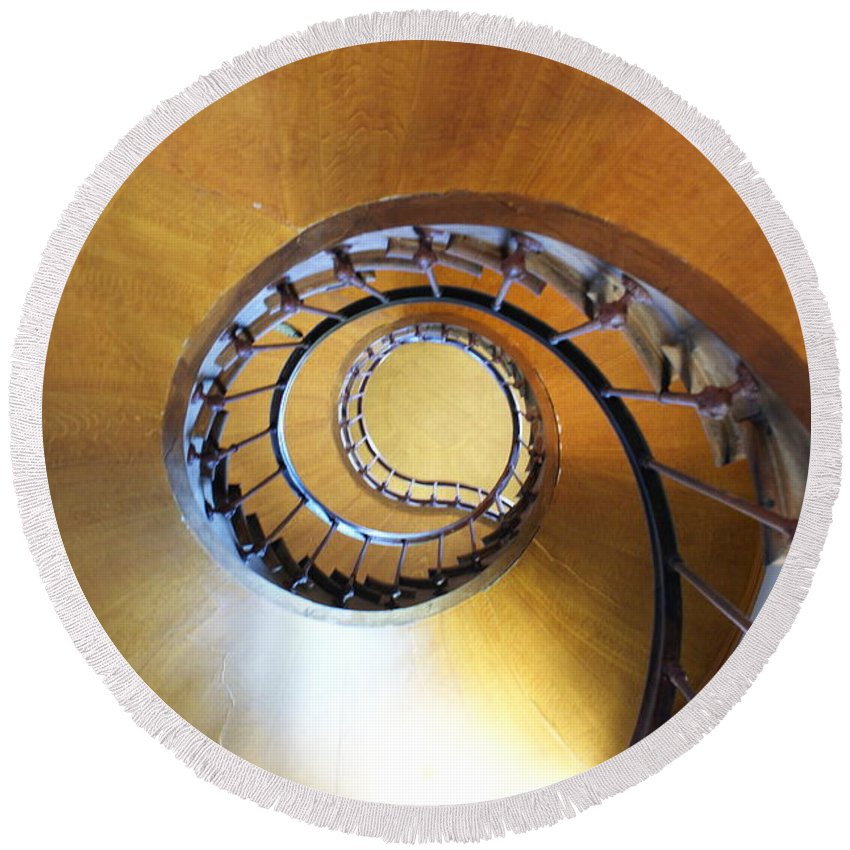 Azay Le Rideau Round Beach Towel featuring the photograph Staircase At Azay Le Rideau by Christine Jepsen