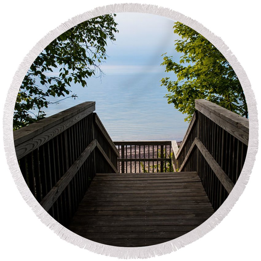 Beach Round Beach Towel featuring the photograph Staircase Of Tranquility by Wesley Farnsworth