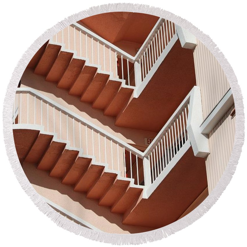 Architecture Round Beach Towel featuring the photograph Stairs And Rails by Rob Hans