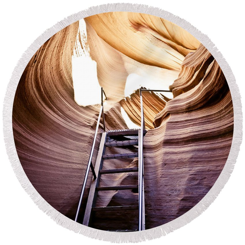 Canyon Round Beach Towel featuring the photograph Stairs From Chaos by Scott Sawyer