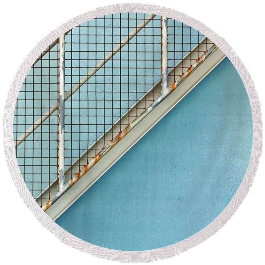 Stairs Round Beach Towel featuring the photograph Stairs On Blue Wall by Stephen Mitchell