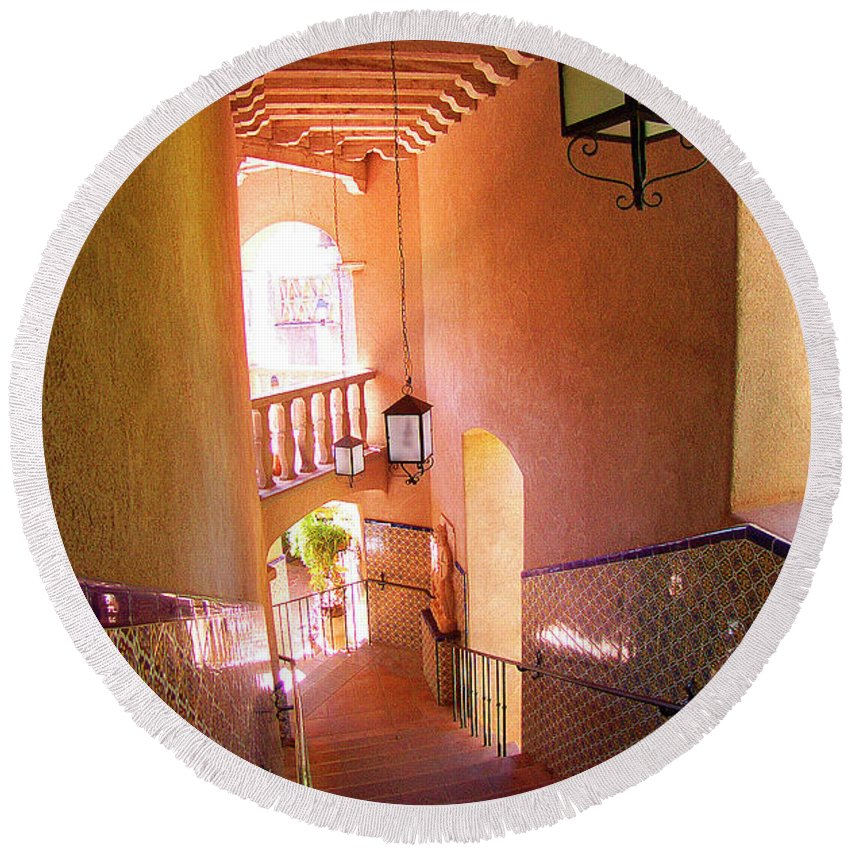 Architecture Round Beach Towel featuring the photograph Stairway by Ben and Raisa Gertsberg
