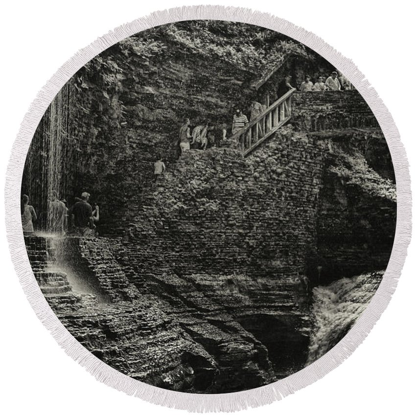 Round Beach Towel featuring the photograph Stairway In The Glen by Marvin Borst