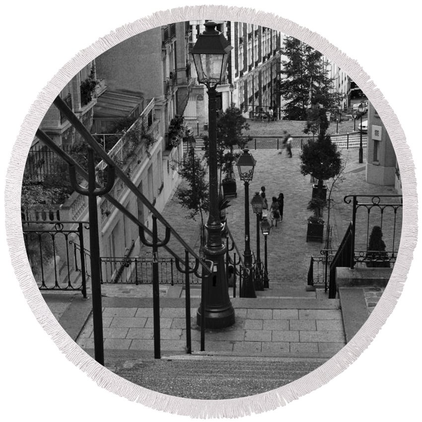 Stairs Round Beach Towel featuring the photograph Stairway On Montmartre by Greg Matchick