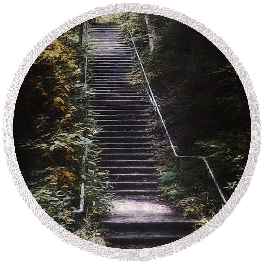 Stairs Round Beach Towel featuring the photograph Stairway by Scott Norris
