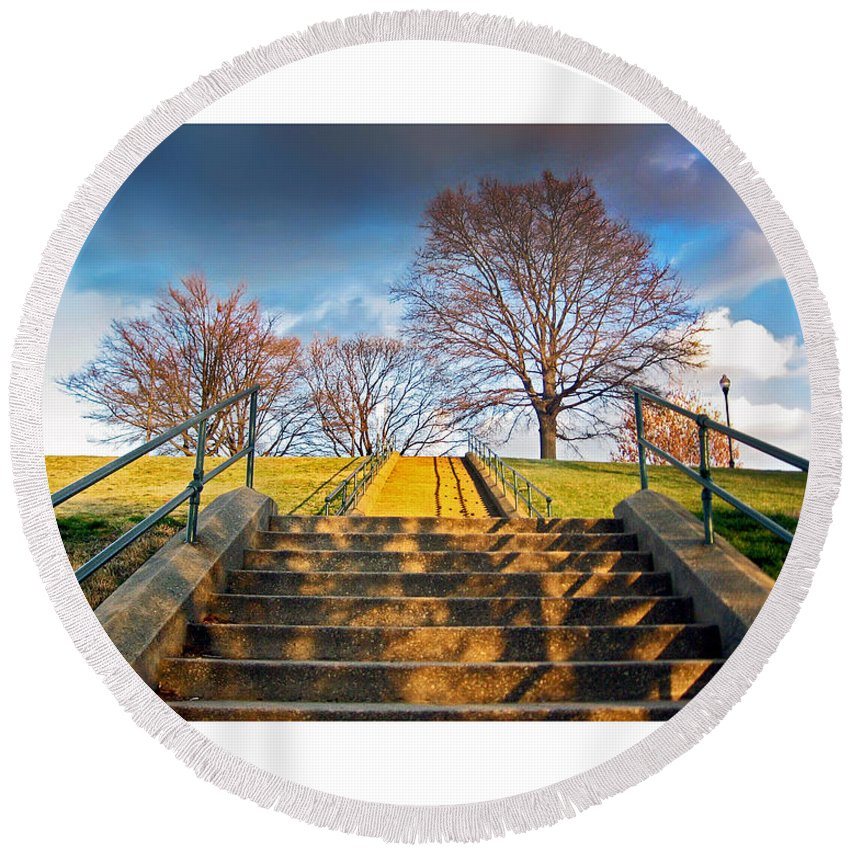 Stairway Round Beach Towel featuring the photograph Stairway To Federal Hill by Brian Wallace