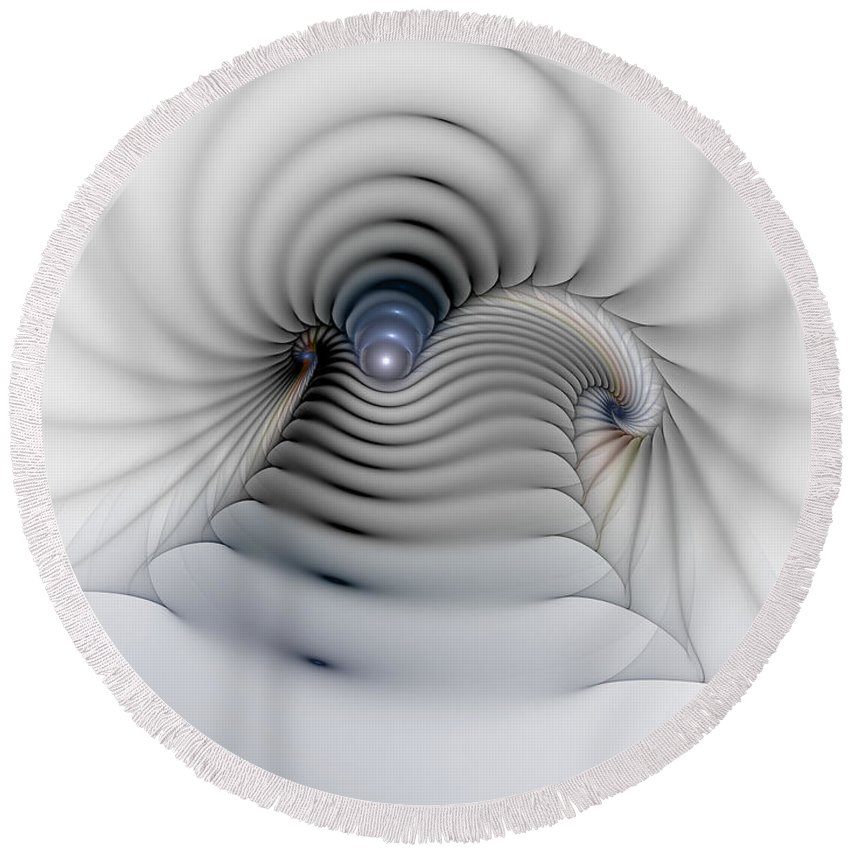 Abstract Round Beach Towel featuring the digital art Stairway To Heaven by Casey Kotas