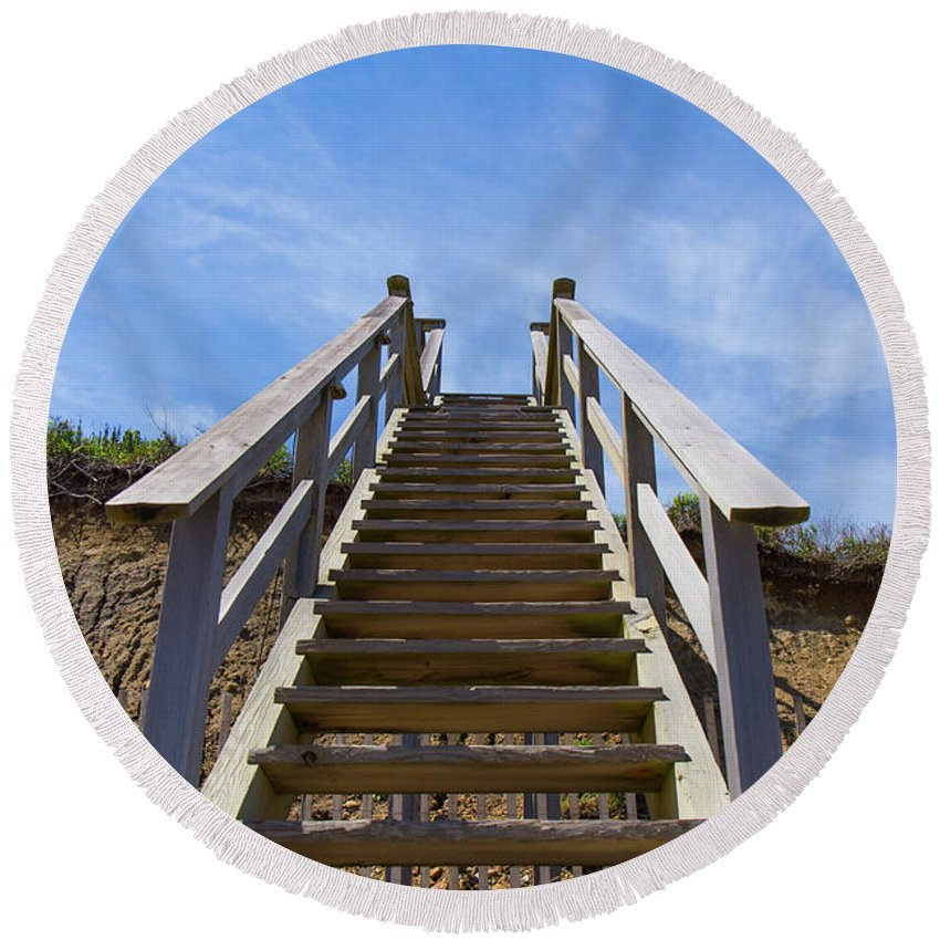 Beach Round Beach Towel featuring the photograph Stairway To Heaven by Justin Starr