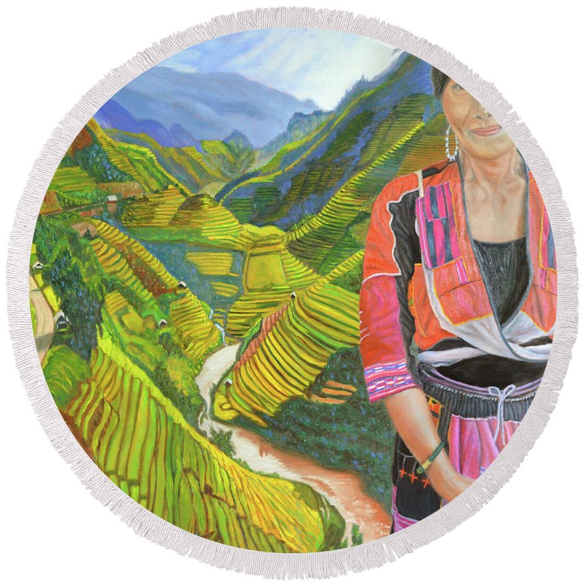 Hmong Woman Round Beach Towel featuring the painting Stairway To Heaven by Thu Nguyen