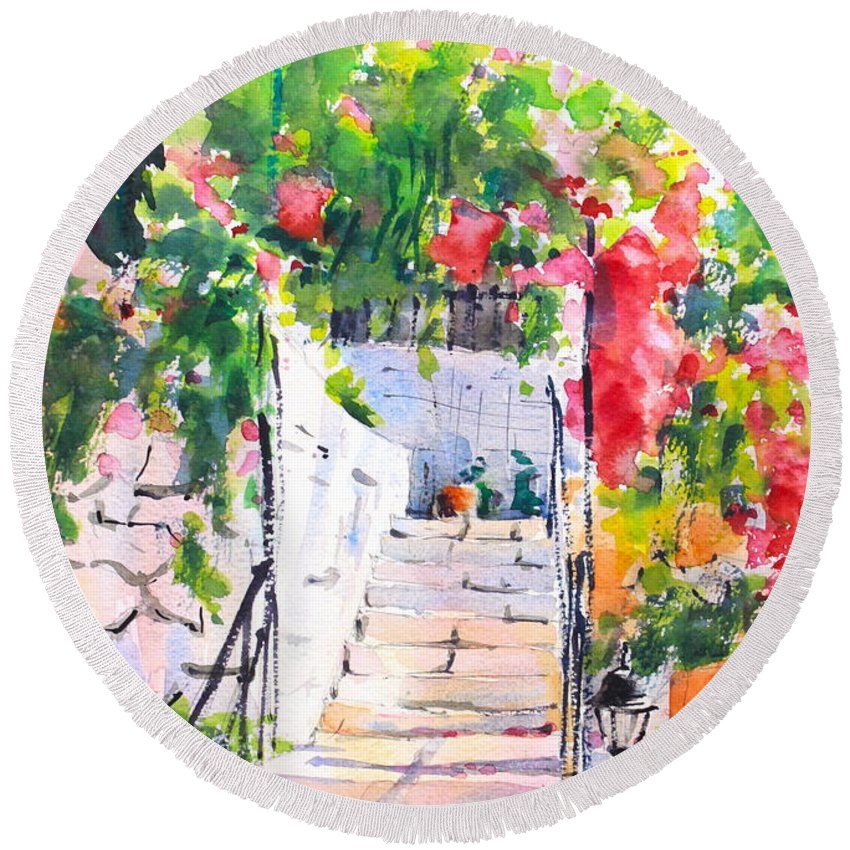 Stairway Round Beach Towel featuring the painting Stairway To Paradise by Ibolya Taligas