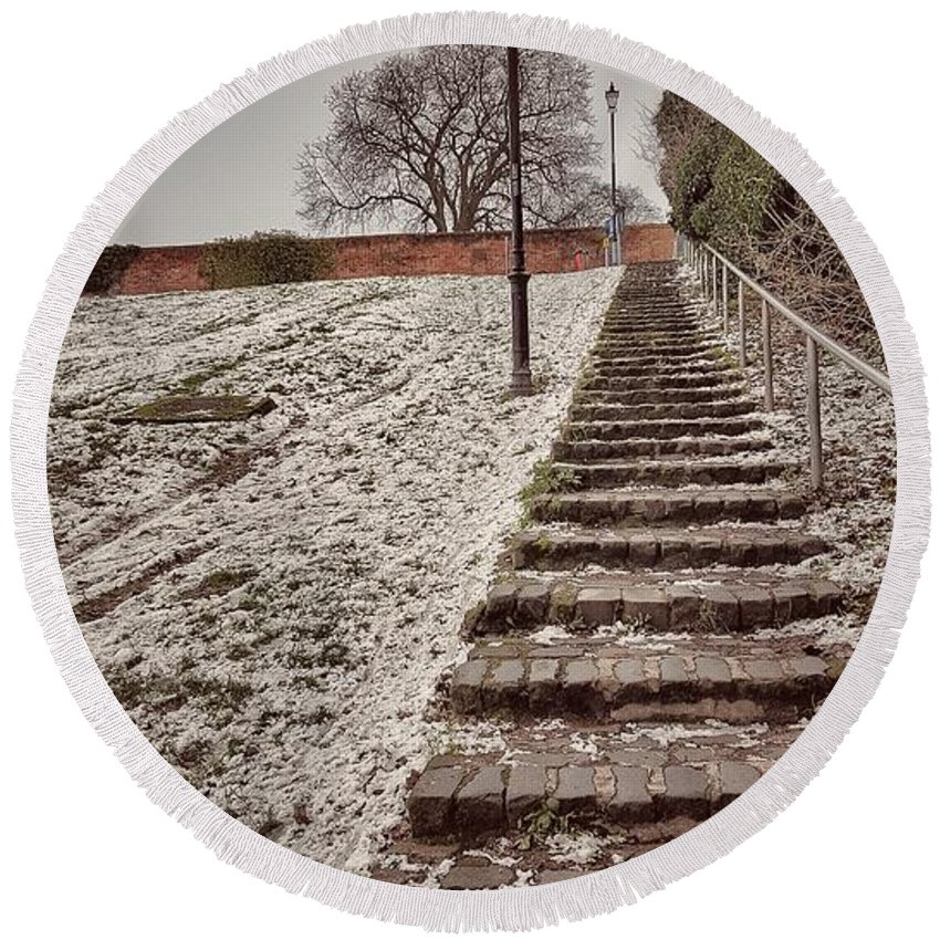 Stairway To Spring Round Beach Towel featuring the photograph Stairway To Spring by Zahra Majid