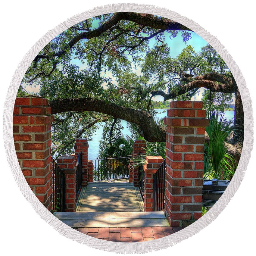 Art Prints Round Beach Towel featuring the photograph Stairway To Winyah Bay by TJ Baccari