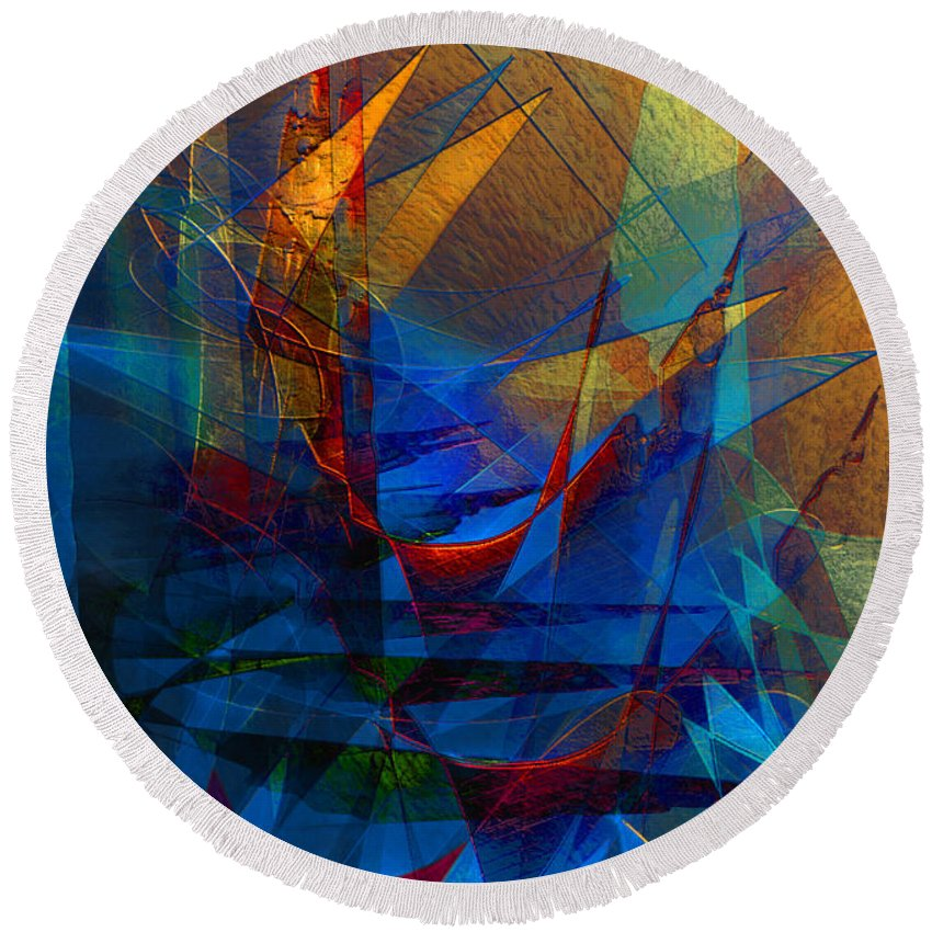 Abstract Round Beach Towel featuring the digital art Stairway Upon Grail Passeges by Stephen Lucas