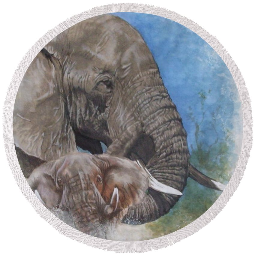 Elephant Round Beach Towel featuring the mixed media Stalwart by Barbara Keith
