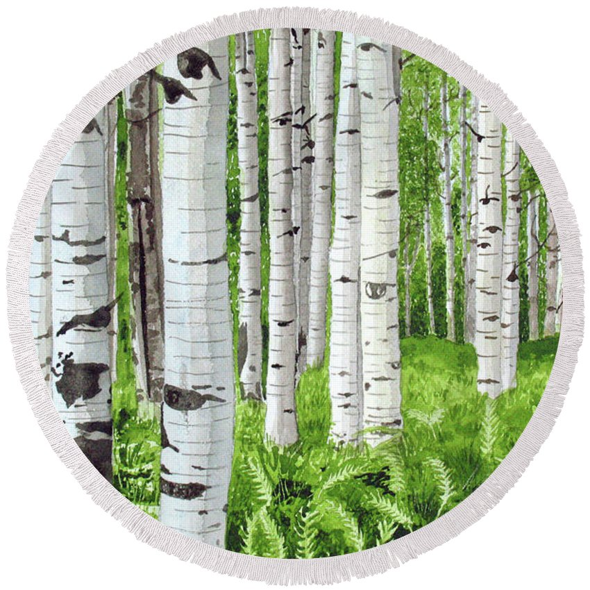 Birch Trees Round Beach Towel featuring the painting Stand Of Birch by Barry Levy