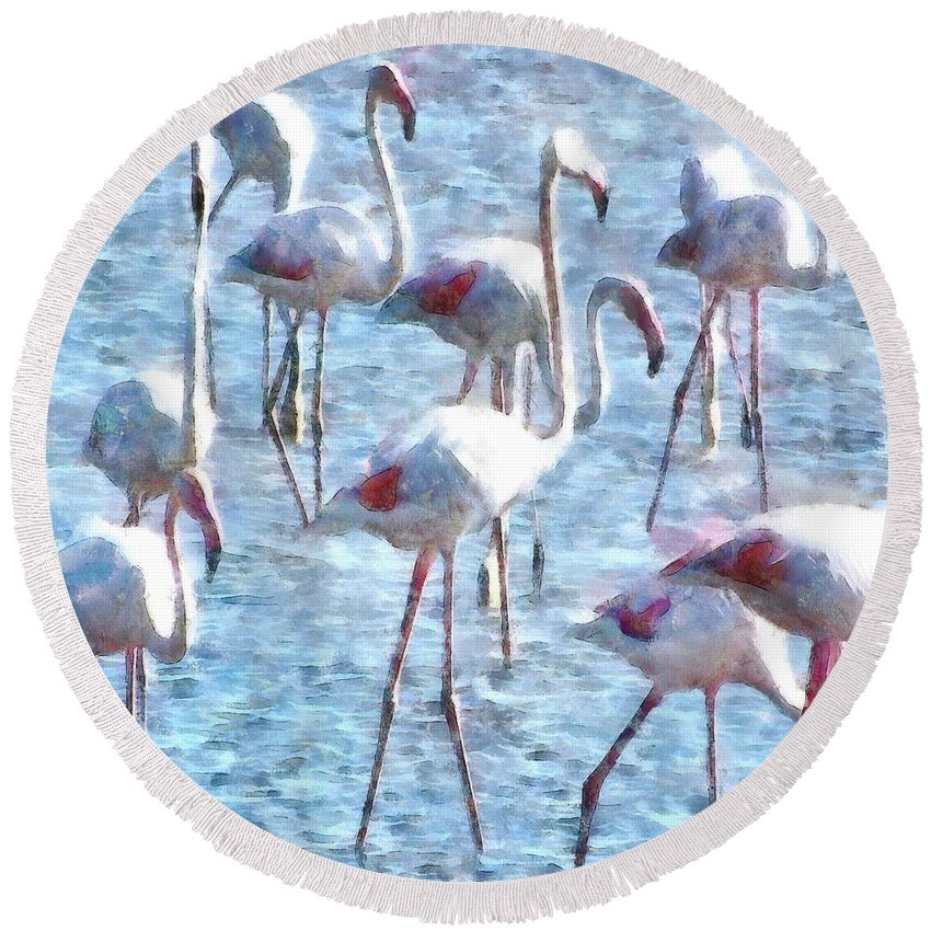 Flamingo Round Beach Towel featuring the painting Stand Out In The Crowd Flamingo Watercolor by Taiche Acrylic Art