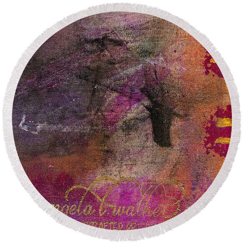 Woman Round Beach Towel featuring the mixed media Standing In The Wind by Angela L Walker