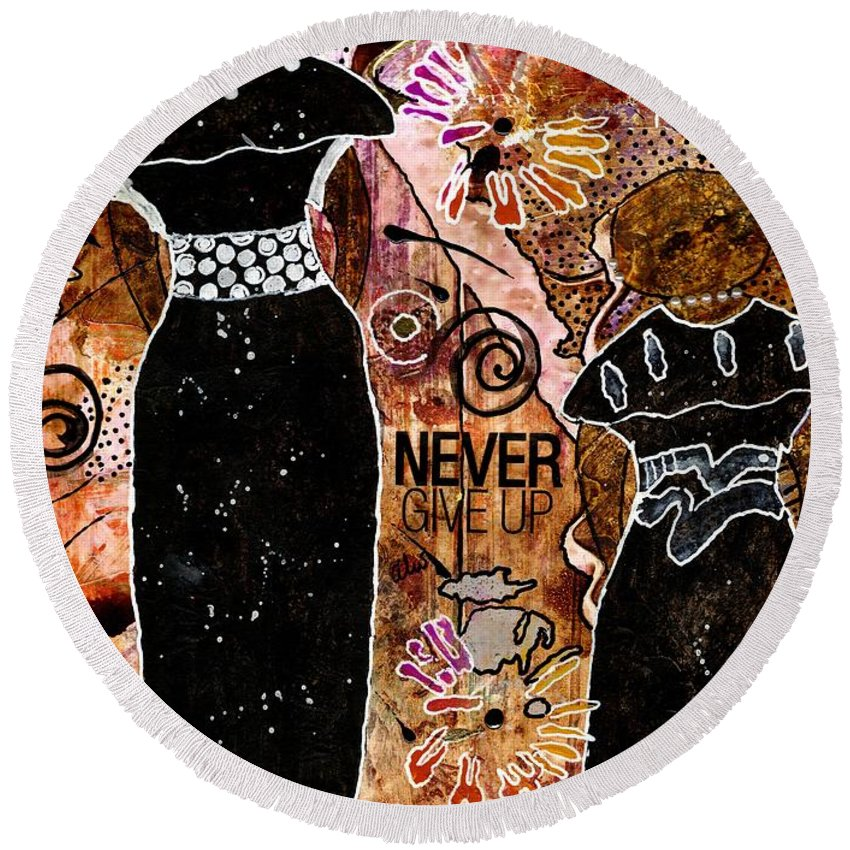 Acrylic Round Beach Towel featuring the mixed media Standing Steadfast In Love And Kindness by Angela L Walker