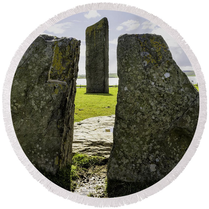 Stenness Round Beach Towel featuring the photograph Standing Stones Of Stenness by Fran Gallogly