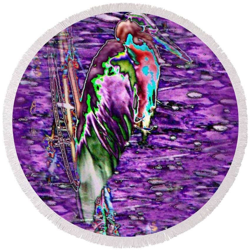 Heron Round Beach Towel featuring the photograph Standing Watch by Tim Allen