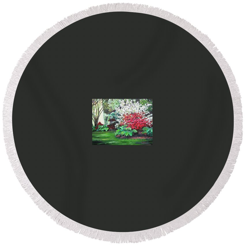 Blossoms Round Beach Towel featuring the painting Stanely Park Blossoms by Richard Nowak